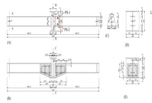ابعاد و اندازه اتصالات فولاد قبل و بعد از تقویت کننده